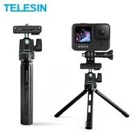 telesin aluminium alloy tripod with cold shoe phone clip portable selfie stick for gopro 9 8 7 6 insta360 iphone monopod dslr