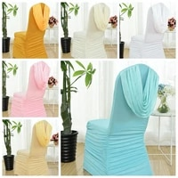 13 colours wedding spandex chair cover ruffle top lycra universal chair cover hotel banquet party decoration pleat design