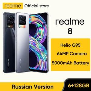realme 8 Russian Version Smartphone 64MP Quad Camera Helio G95 6.44