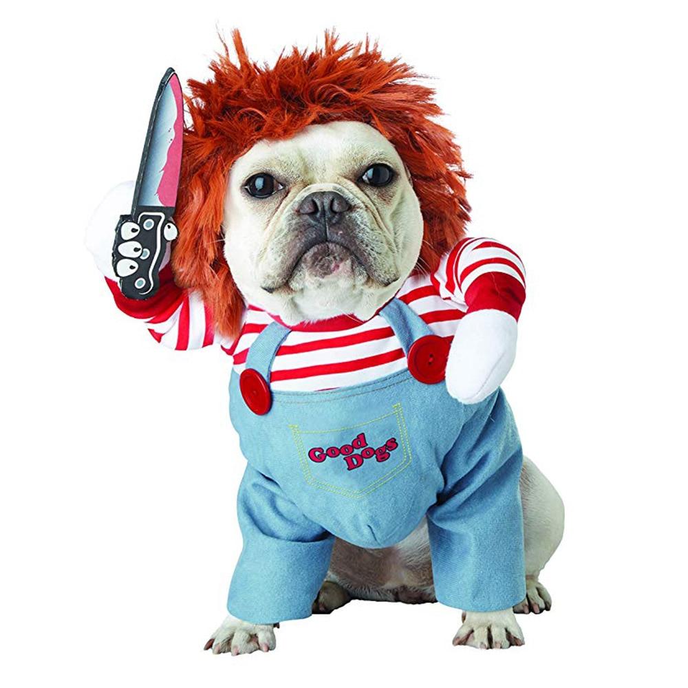 Engraçado cão de estimação traje mortal boneca cosplay roupas para cães festa de halloween natal roupas pug bulldog francês roupa gato vestuário
