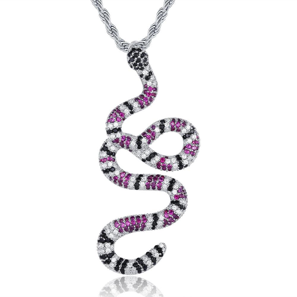 100% Micro Zircon Hip Hop Gorgeous Snake Pendant Necklace For Men Jewelry Zircon Tennis Chain Party