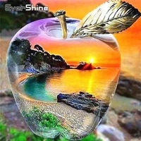 EverShine     peinture diamant theme paysage  broderie 5D  mosaique de pommes  image en strass  coucher de soleil  decor de maison