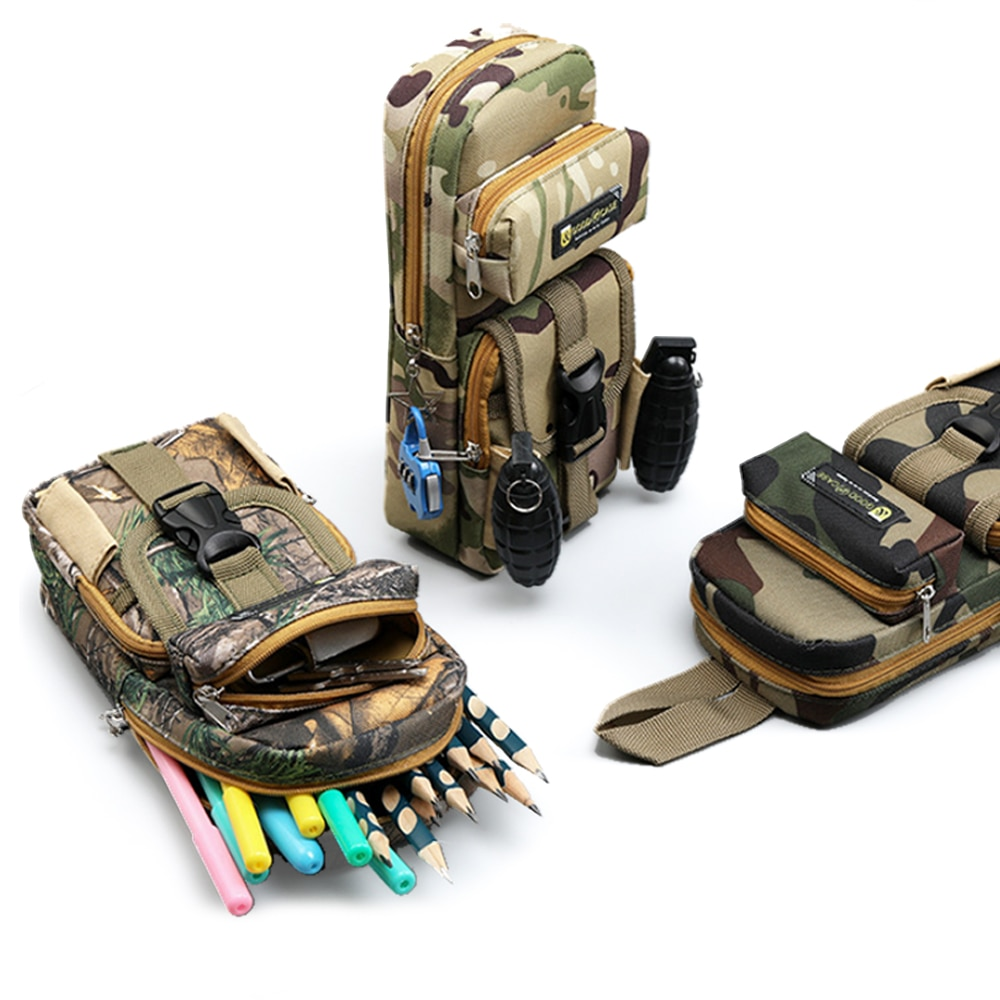 Camouflage Pencil Case Multifunction Large Capacity Pencil Box Portable Canvas Pen Box Storage Bag K