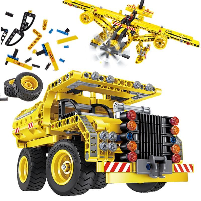2 in 1 City Engineering Excavator High-tech Car Truck Tank Airplane MOC Building Blocks Bricks STEM