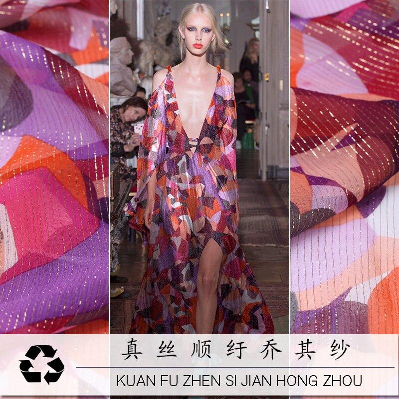 Año Nuevo de alta gama de hilo de oro seda suave Georgette tela otoño mulberry seda vestido playa falda tela