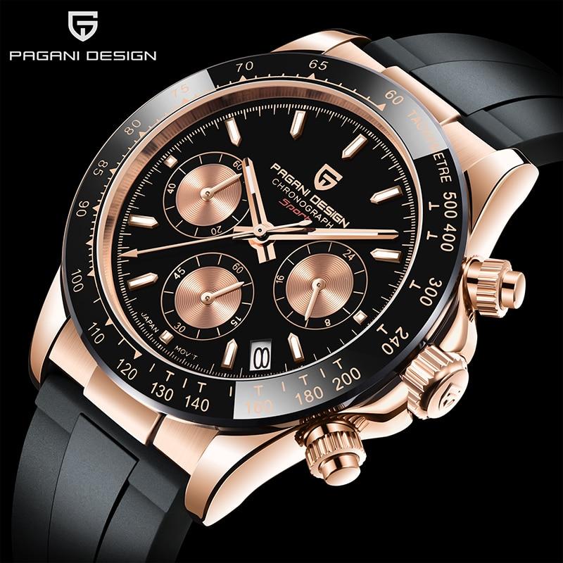 باجاني-ساعة كوارتز فاخرة للرجال ، تصميم العلامة التجارية الأعلى ، رياضية ، كريستال ياقوتي ، حزام مطاطي ، كرونوغراف