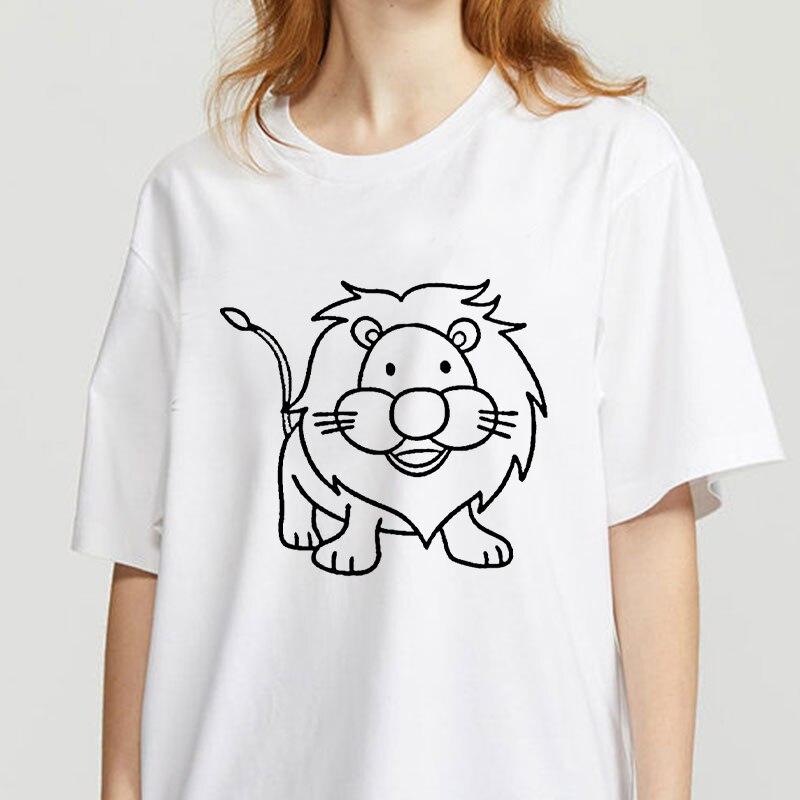 Футболки с графическим рисунком льва, женские футболки с забавным рисунком, футболка с круглым вырезом, винтажная женская футболка Ullzang