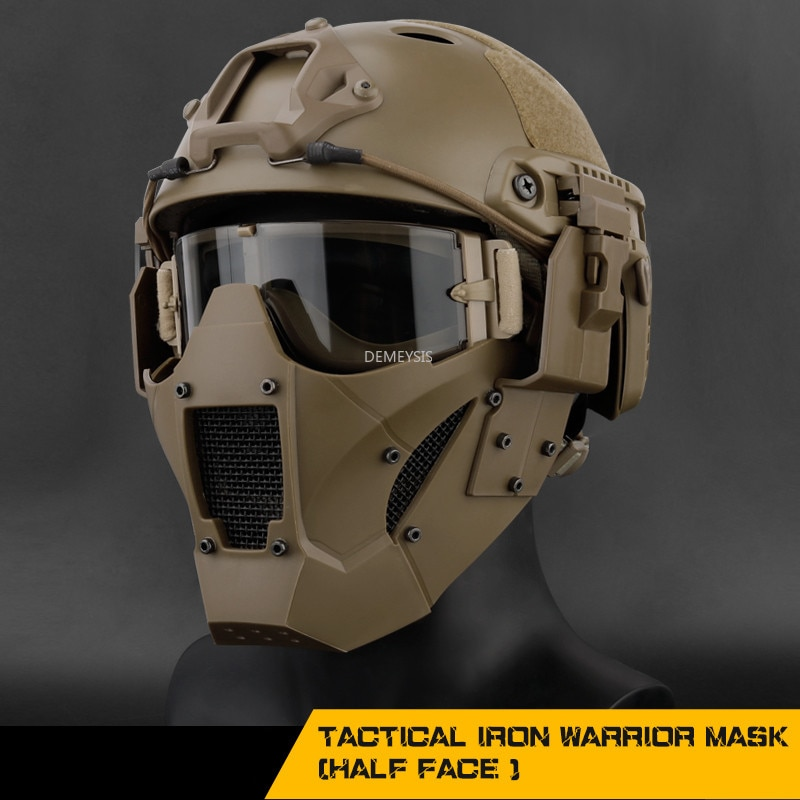 Hunting Protective Mask Half Face Breathable Military Tactical Mask Airsoft Paintball CS Combat Face Mask with Helmet Connector airsoft paintball tactical helmet protective fast helmet abs tactical mask with goggles cs equipment