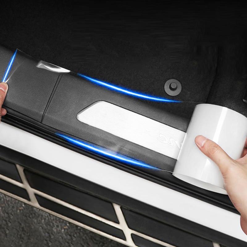Borde de puerta lateral Universal anticolisión para coche, protector para umbral de puerta, Placa de protección antidesgaste, tira adhesiva, umbral de puerta transparente, cinta de alféizar