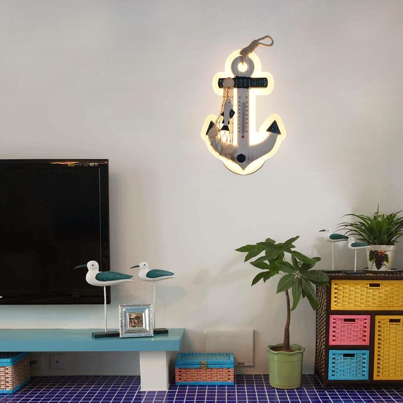 Lámpara de pared de anclaje Mediterráneo creativa lámpara de pared de dormitorio personalidad sala de estar estudio de fondo pared LED timón marino