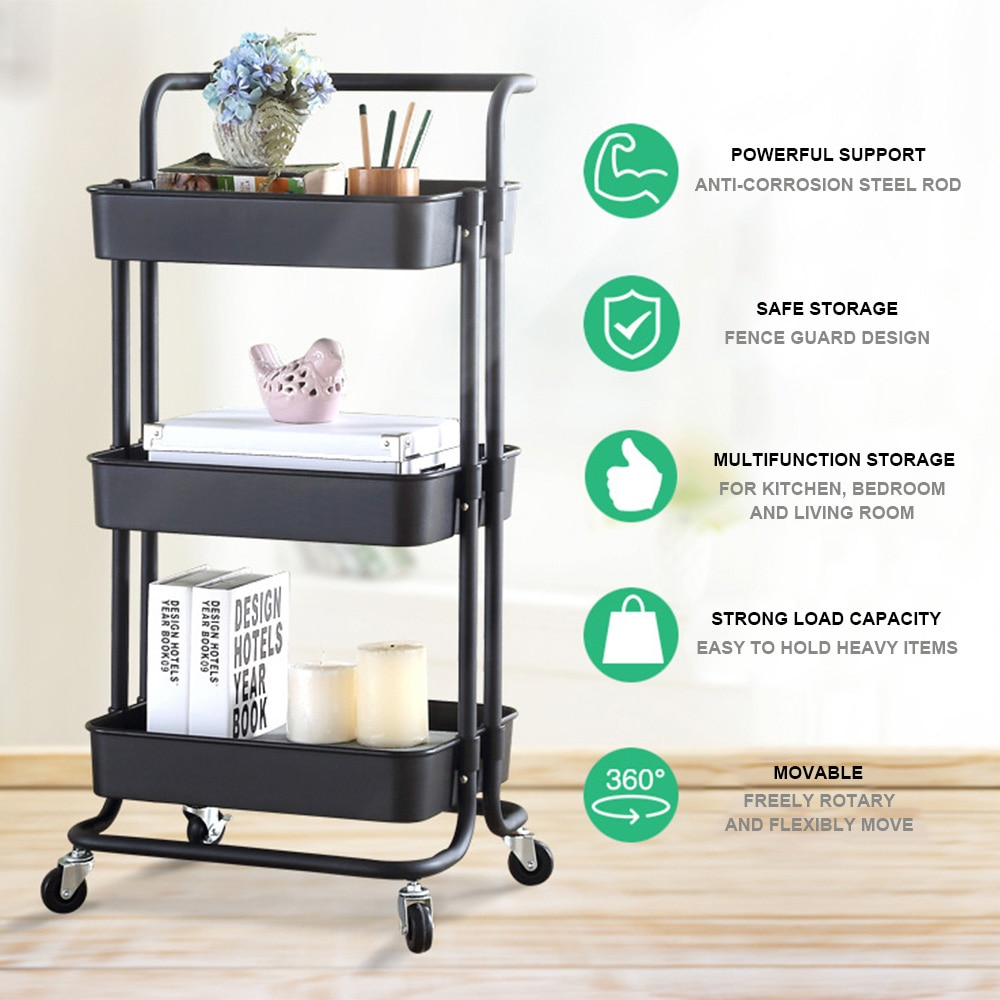 Three - layer trolley storage rack is a wheeled family trolley arrangement, suitable for restaurants, hotels, family, etc