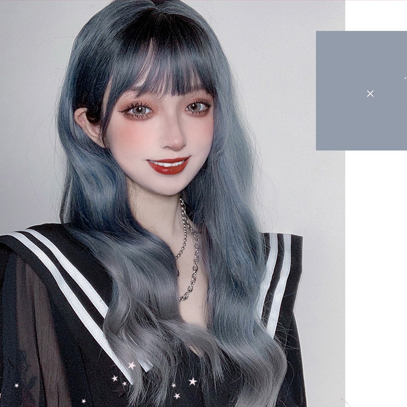 MANWEI 60CM Lolita Gewellte Lange Gerade Mixed Asche Blau Ombre Pony Nette Halloween Synthetische Partei Cosplay Perücke