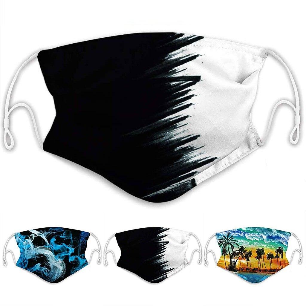 Print Mouth Maske Reusable Dust Maske Washable Face Maske Foggy Smoke Maske Outdoor 2 Layer Maske Cosplay With 2PCS Filters