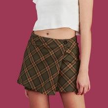 Plaid Mini Wrap Rock Hohe Taille Mit One Button Vorne Kurze Witz Rock Für Frauen Schule-Mädchen e-mädchen/