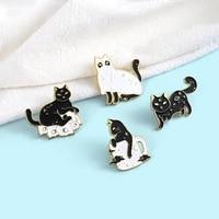 fashionable alloy animal brooch witch cat animal brooch moon star skull cat brooch cartoon cute black and white cat lapel pins