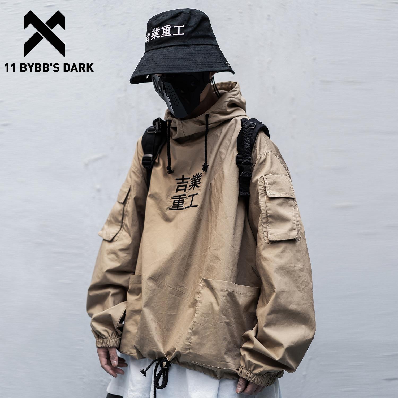 11 BYBBS, темно-Лоскутная уличная куртка с карманами, мужская куртка в стиле хип-хоп с вышитыми буквами, 2020, пуловер, модная одежда, мужские паль...
