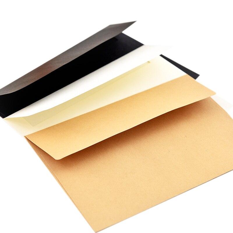 50 unids/pack 17,5X12,5 Cm Kraft blanco negro de sobres de papel de tarjeta de mensaje carta estacionario de almacenamiento de regalo de papel