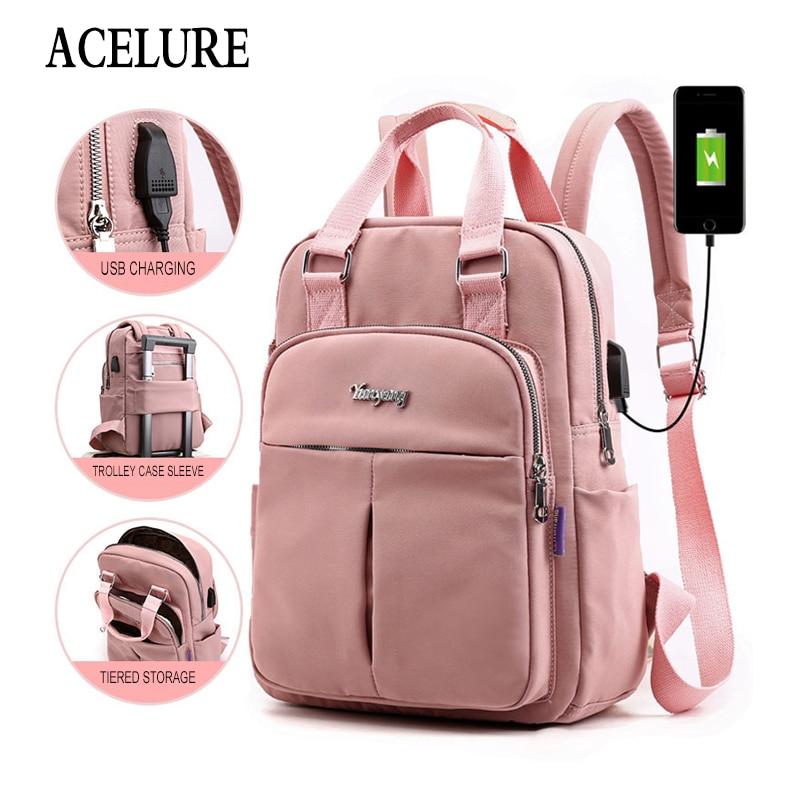 ACELURE Противоугонная USB зарядка нейлоновый рюкзак водонепроницаемые женские школьные рюкзаки сумка школьные сумки для девочек-подростков дорожная сумка