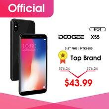 2018 nouveau DOOGEE X55 Smartphone 5.5 189 HD MTK6580 Quad Core 16GB ROM double caméra 8.0MP Android 7.0 2800mAh empreinte digitale latérale