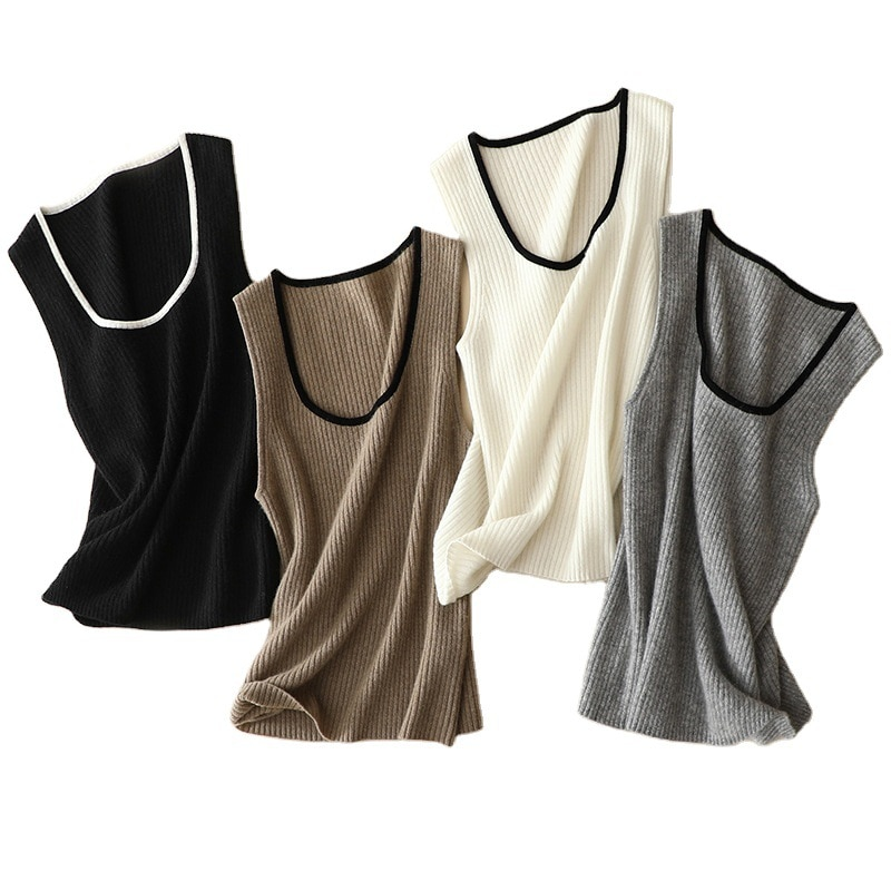 SHUCHAN Sweater Vest Cashmere Office Lady Women Knitted Vest  Spring Vetements Femme Hivers 2020 2021 Knitted Items enlarge