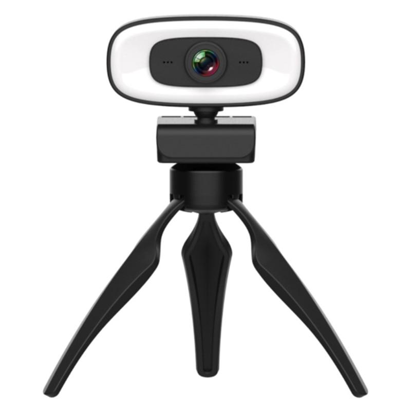 2K ضبط تلقائي للصورة USB كاميرا ويب للكمبيوتر بدون سائق سماعات مزودة بميكروفون 3 سرعات ملء ضوء لتدفق المؤتمر