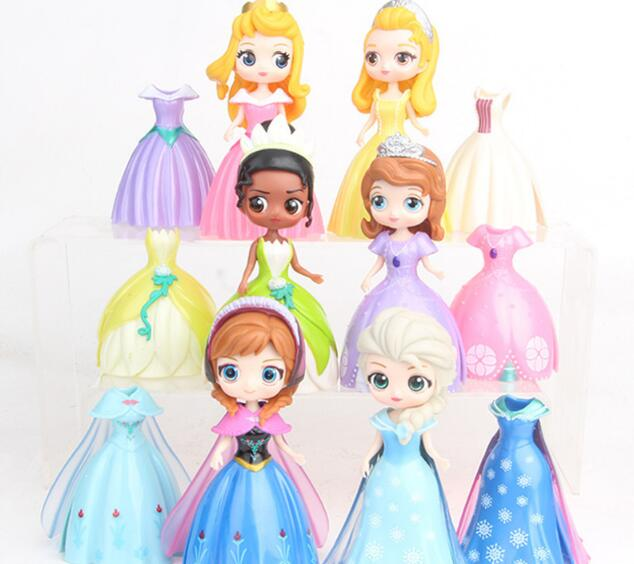 12 unids/set princesa muñecas Elsa Anna Sofia Tiana Cenicienta Aurora princesa Magic Clip vestido conjunto PVC figuras de acción Juguetes