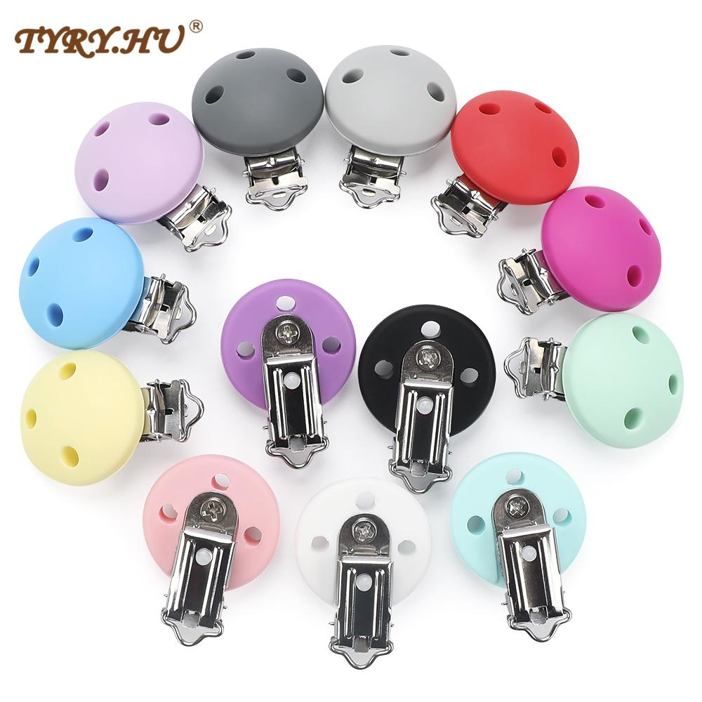 TYRY.HU Silicone Teether Clips 100pcs Round Shaped Pacifier Clip Silicone Baby Beads Accessories Pacifier Chain Clip Clasps Toy