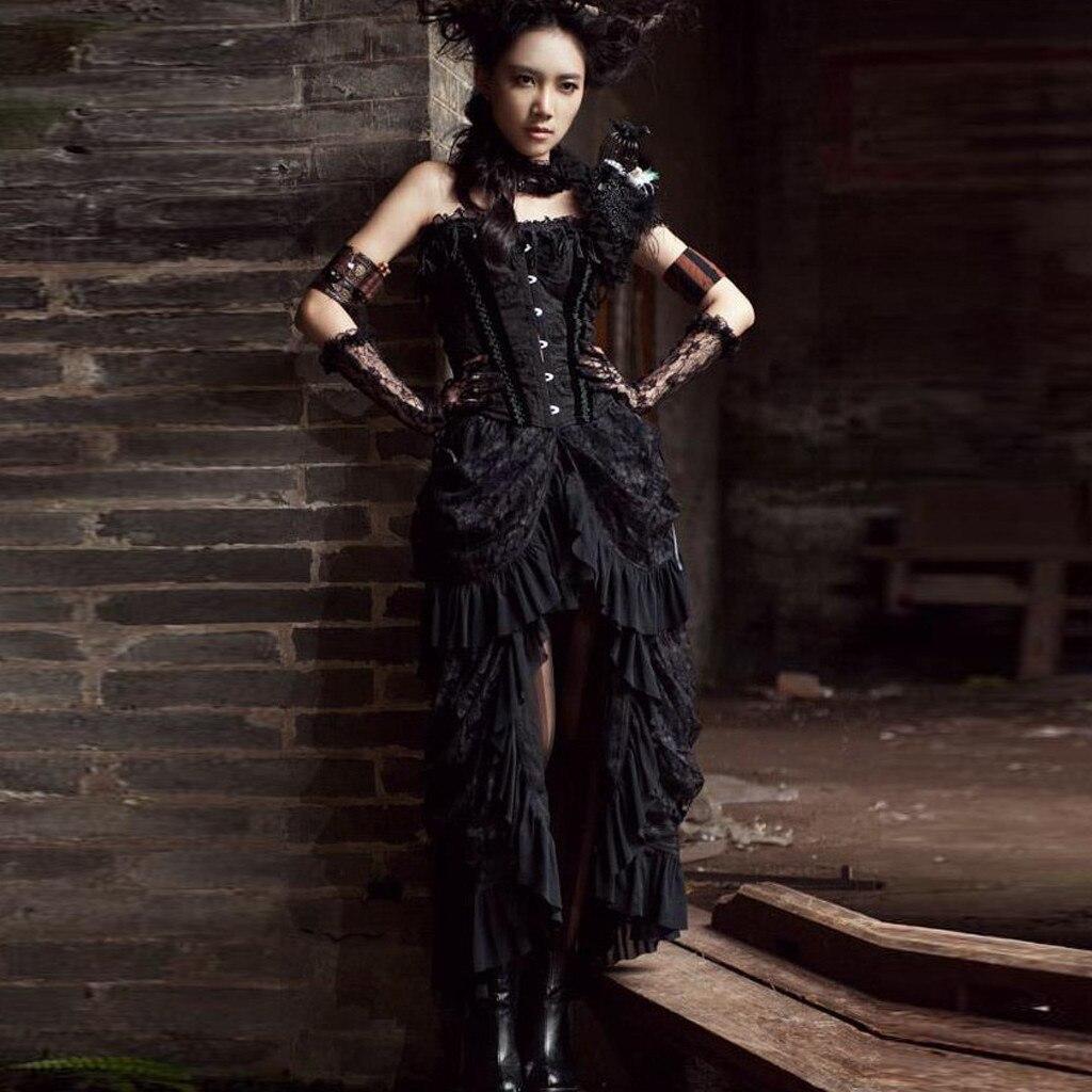 Falda de Mujer Faldas Mujer Moda 2020 Moda gótica Punk encaje Irregular negro largo Mujer Jupe Saia Lady Ropa Faldas # C45