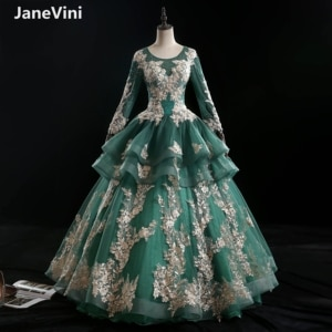 JaneVini Vintage Sweet Ball Gown Quinceanera Dresses Long 2021 Dark Green Lace Embroidery Flowers Beaded Arabic Puffy Prom Gowns