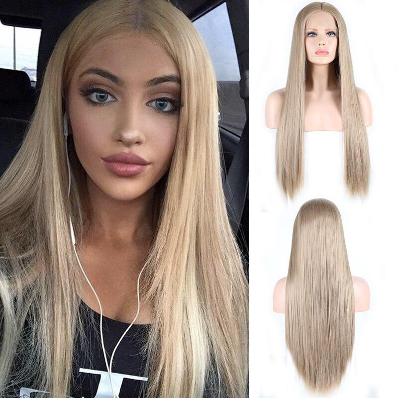 Carisma cinza loira peruca 150 densidade completa do cabelo reto peruca dianteira do laço sintético com linha fina natural perucas sintéticas para mulher