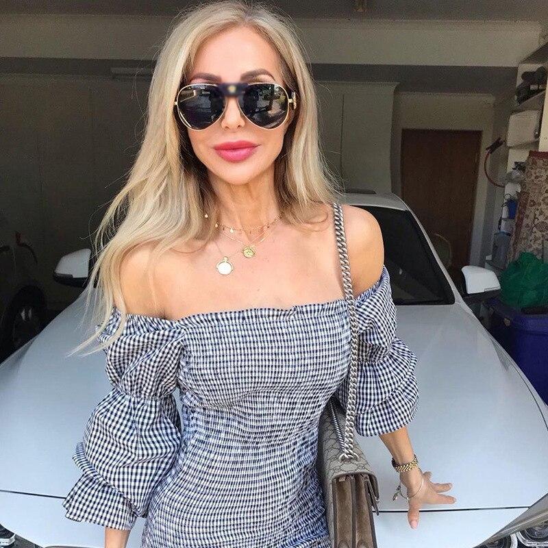 DPZ Luxury brand design Oversized frame leather Square women pilot sunglasses men Hip hop high quality male Female oculos de sol