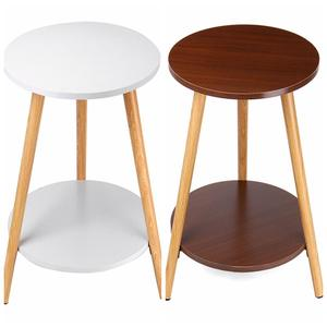 40*40*50 30*30*40 2/1-Tier Coffee Table Round Nordic Wood Coffee Table Bed Sofa Side Table Tea Fruit Snack Service Plate Desk