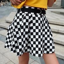 Disweet plissé Plaid jupes femmes taille haute à carreaux jupe Harajuku danse Style coréen Sweat court Mini jupes femme