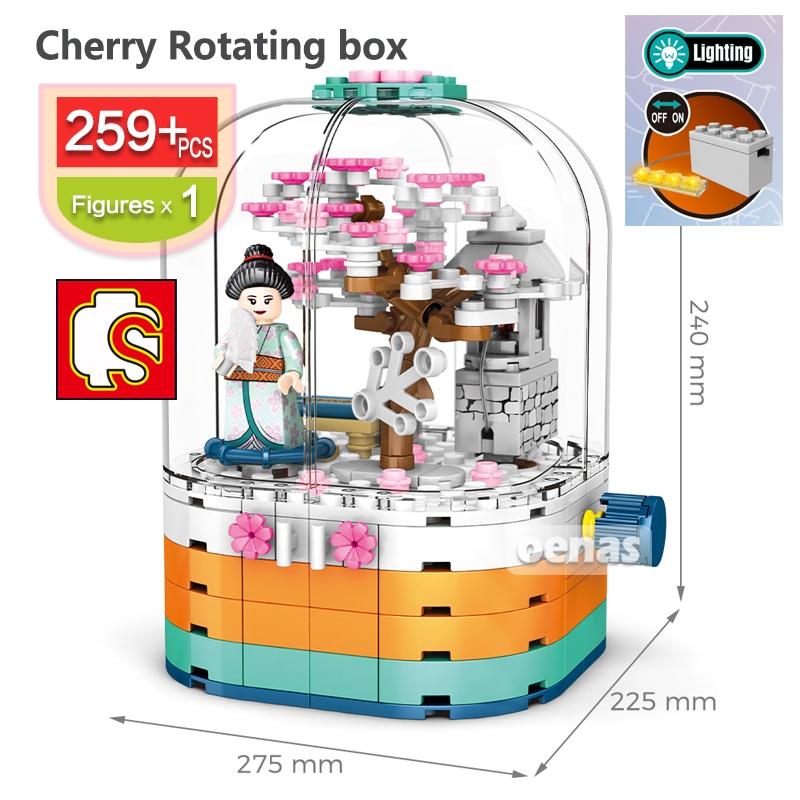 City Cherry season Japanese street Sakura view Rotating box Building Blocks Flash bricks kid educational DIY toys children gift
