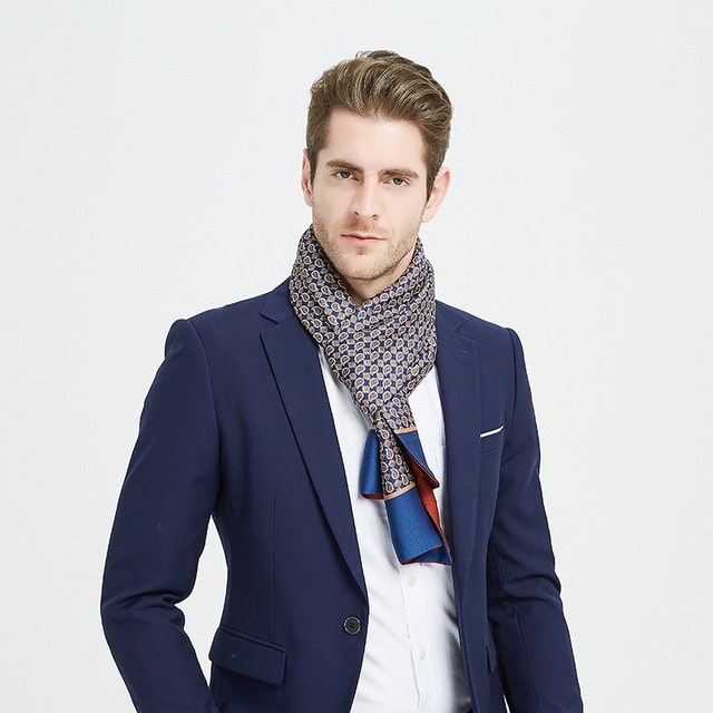 Brand Designer Silk Scarf Business Men Scarf Shawl Retro Double-sided Winter Scarf High Quality Scarf Bufanda De Los Hombres