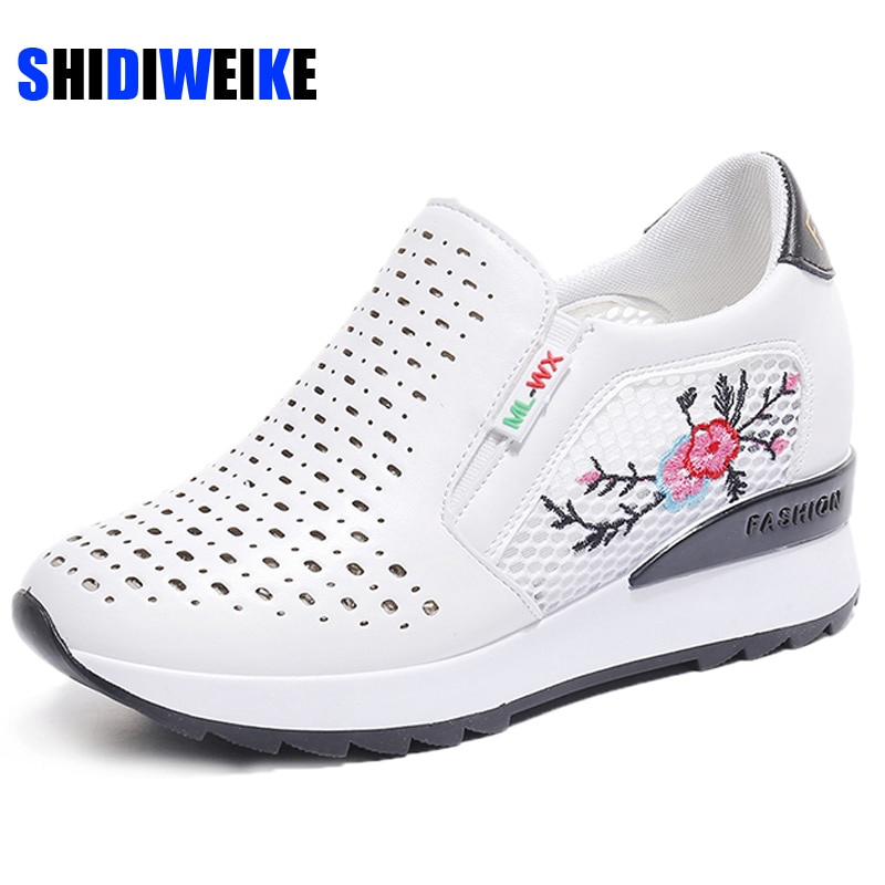 Moda floral bordado plataforma de couro evelator sapatos feminino balanço cunha aumento interno sapatos casuais sapatos plataforma ab627