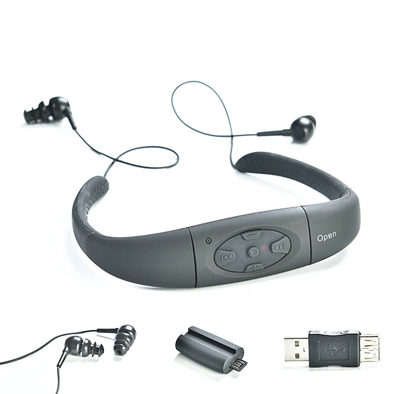 Underwater Motion Headset MP3 Music Player IPX8 Waterproof 8GB  Neckband Stereo Audio Headphone with for Diving Swimming Pool