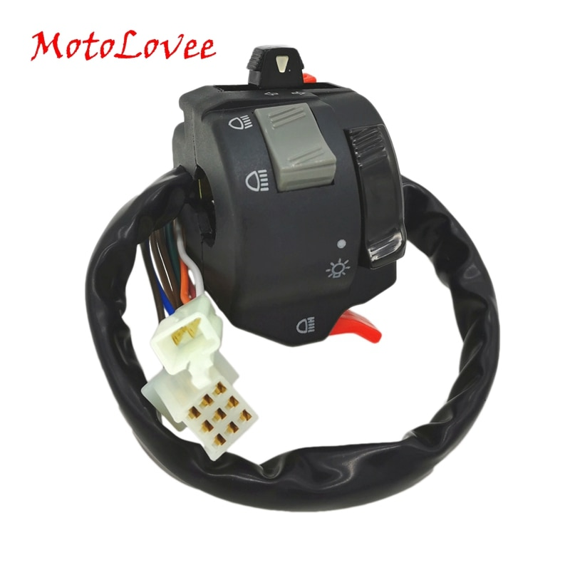 """Motolovee alta qualidade 22mm guiador botão interruptor de controle da motocicleta farol luz nevoeiro turn signal universal 7/8 """"guiador"""