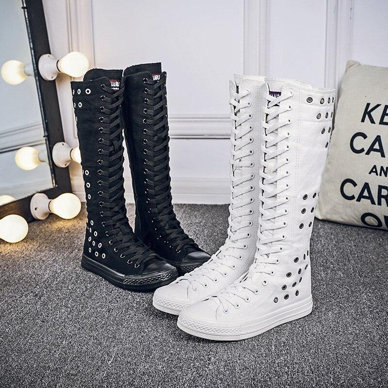 Tallas 34-43 zapatos de tacón alto calados transpirables para mujer zapatos planos informales de lona con cremallera bailarinas zapatos Punk altos de barra larga MA-73