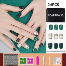 24/30 pièces acrylique embouts courts couverture complète faux ongles 2020 Nail Art Kit presse sur ongles outil de manucure
