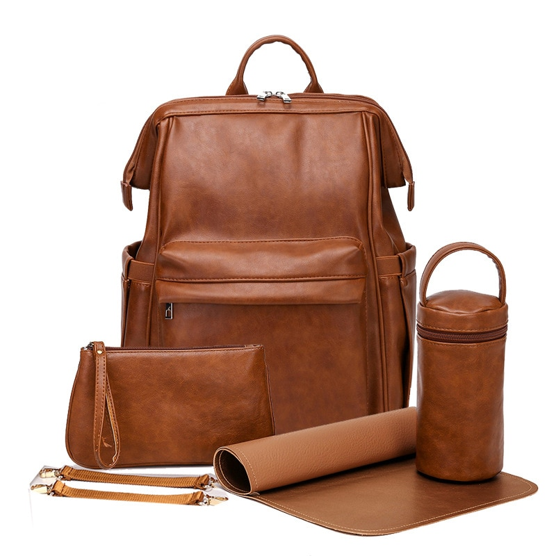 Fashion PU Leather Baby Diaper Bag Backpack For Moms Large Capacity Nappy Bag with Changing Pad + Stroller Straps Brown