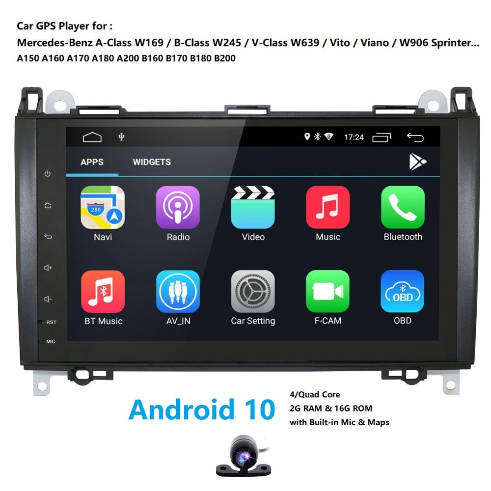 "9 ""IPS Android 10 2G 16G GPS para coche para Mercedes Benz Sprinter B200 Clase B W245 B170 W169 A180 A160 radio SIN dvd"