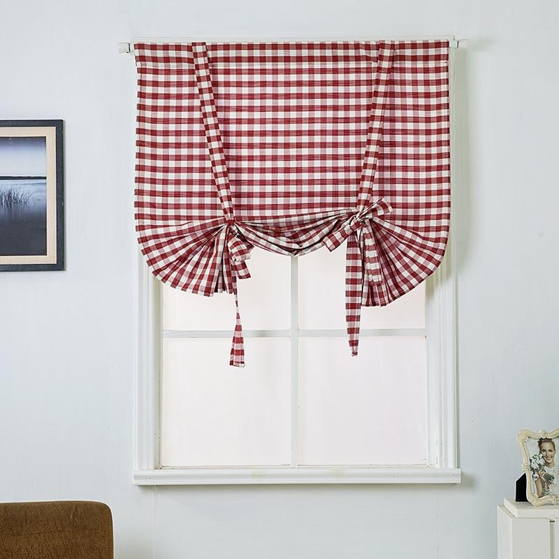 Cortinas romanas de lino de algodón a cuadros cortina de Cocina Semi sombra pequeñas cortinas de ventana