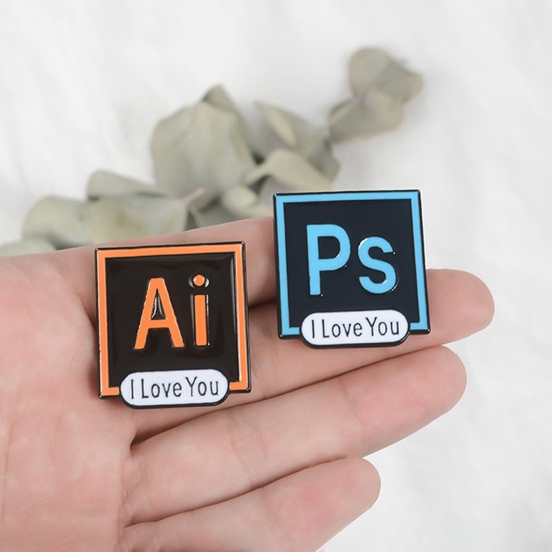 Photoshop Brooch Creative Pins Office Software AI PS Pr AU Brooch Professional Style Personality Jewelry Friend Gift Boutique