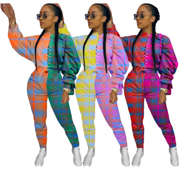 2 Piece Set Women Fall Clothes Sweatsuit Lace Up Patchwork plaid Puff Sleeve Top Sport Pants Matching Set Wholesale Dropshipping
