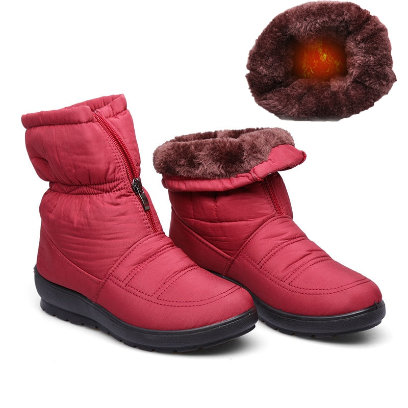 Winter Promotion Ladies Snow Boots Ankle Thick Platform Wedges Fashion Warm Cotton Shoes Waterproof Anti-slip