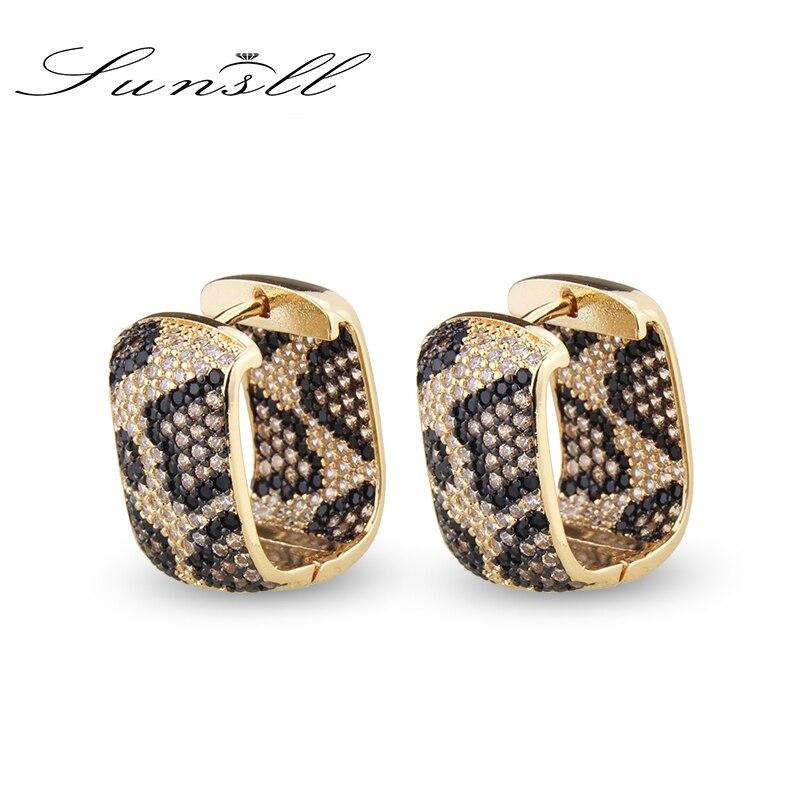 SUNSLL New design fashion luxury leopard earrings square zircon earrings for women wedding party exquisite jewelry earrings gift