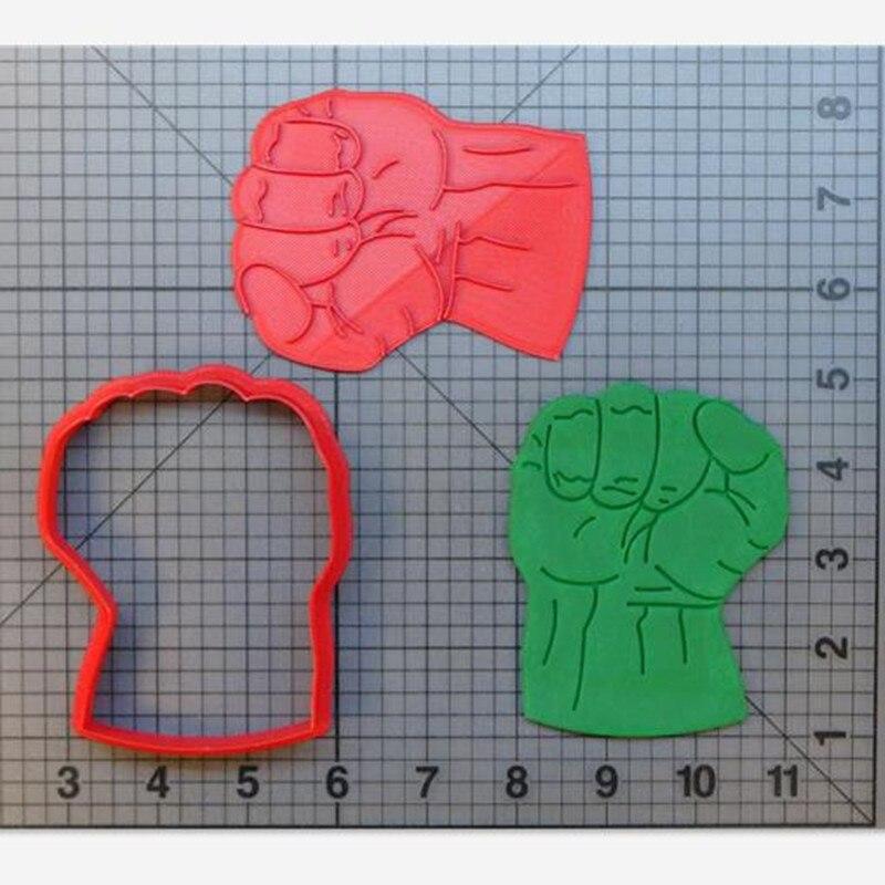 Hulk-molde para cortar galletas, suministros de repostería para cocina, Hornear en Casa con estampado 3D, herramienta para hornear glaseado, molde decorativo para pasteles, sello