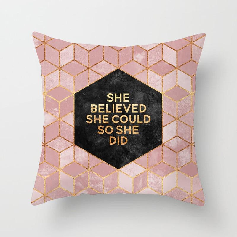 45*45cm nórdico Simple geométrico sofá coche funda de almohada Rosa poliéster Oficina hogar funda de cojín Pillower cubierta
