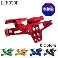 Motorrad Kennzeichen Rahmen Halter Einstellbare Winkel + LED Licht CNC Für Honda CBR1100XX ST1300 PCX 125 PCX 150 CR80R